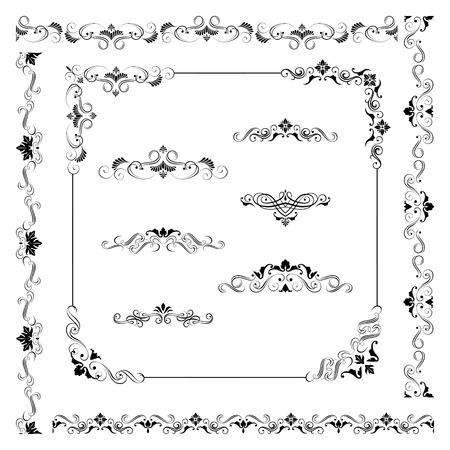 Set of vintage vector frame border divider corner. Retro design elements collection. Ornate decor elements for calligraphy design Vettoriali