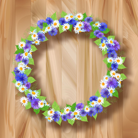 Flowers vector wreath greeting card with wildflowers on wooden planked background  Floral circle frame composition can be used as greeting card, invitation card for wedding, birthday and other holiday design Vector