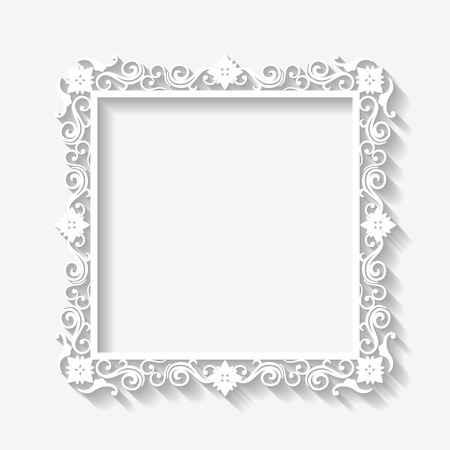 Vector vintage white frame background with long shadows  Blank square paper frame with Baroque pattern and retro decorations