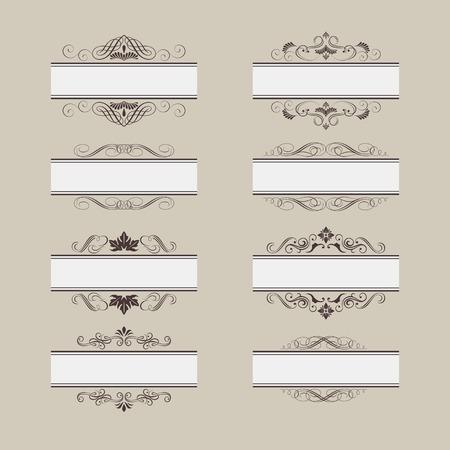 Set of vintage vector frame border divider  Retro design elements collection  Ornate decor elements for calligraphy design Vector