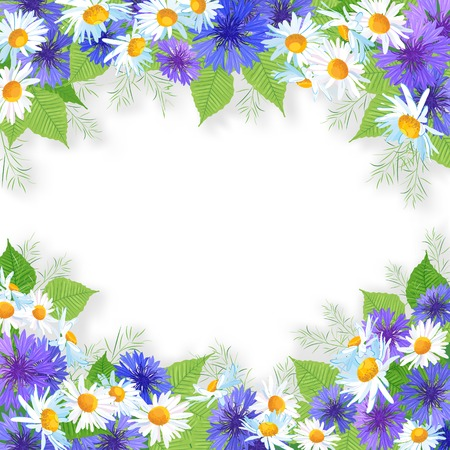 Flowers garland with wildflowers over white background  Floral frame composition Vector