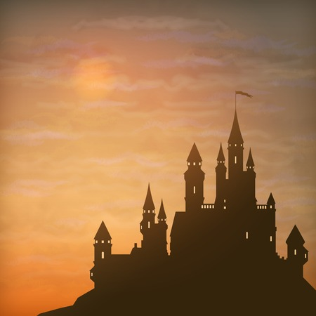 Fantasy vector castle silhouette on the hill against moonlight sky with soft clouds texture