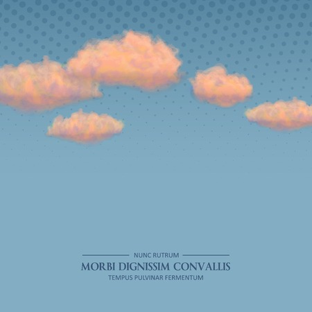 Vector retro sky blue background with pastel drawing orange clouds in vintage style Vector