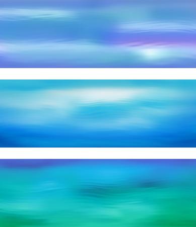 Floue vecteur ondulation de l'eau bannière bleu avec résumé en douceur des lignes tête de site Web ou bannière ensemble