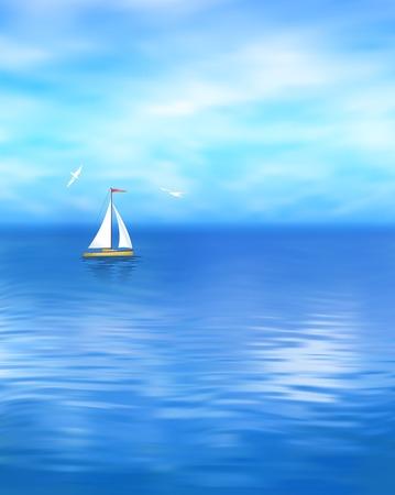 sea landscape: Sea landscape with blue sky cloud yacht gull wave water