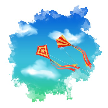 Sky landscape with flying kite, white clouds inside watercolor spot Vector
