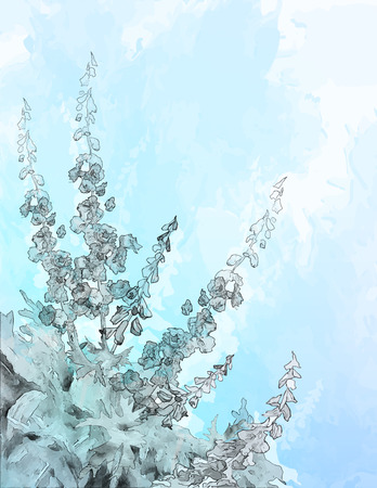 pencil or ink sketch drawing flowers on abstract blue watercolor background with subtle grunge texture Vector
