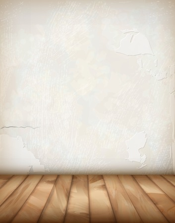 White plaster wall and wood floor  Interior, grunge vintage abstract background