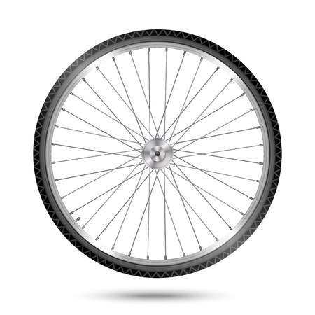 Detailed bicycle wheel on white background