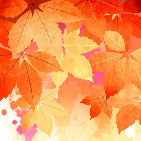 Watercolor vector autumn fall leaves, artistic abstract background