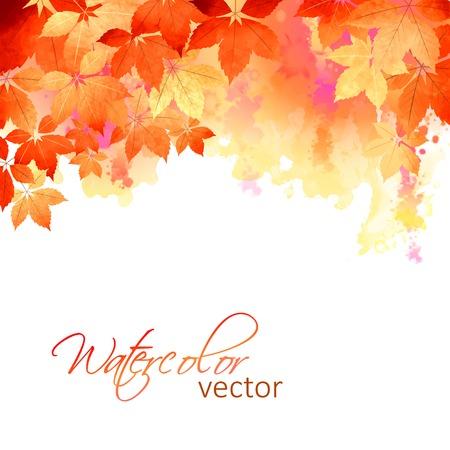 Akwarela wektor jesienią liści jesienią, artystyczne abstrakcyjne tło Ilustracje wektorowe