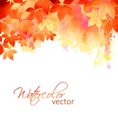 fall leaves: Watercolor vector autumn fall leaves, artistic abstract background