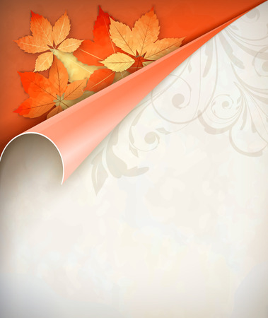Vintage vector autumn curled corner card with fall leaves