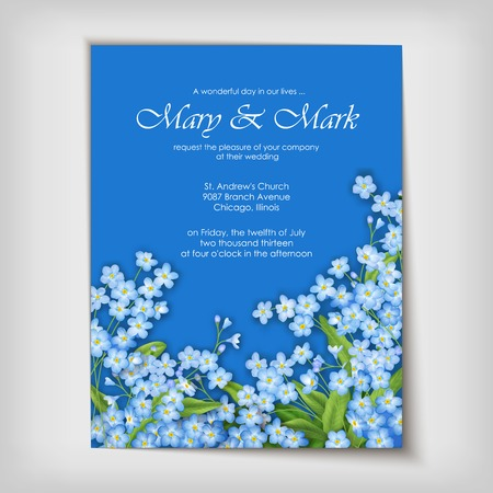 forget me not: Floral wedding greeting or invitation design with blue forget-me-not flowers