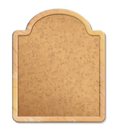 Vector cork bulletin board with wood frame on white background Illustration