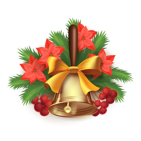 christmas bell: Vector Christmas time composition with Christmas tree branches, Rowan berries, poinsettia flowers and bell Illustration