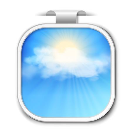 Resumen de vectores de color azul cielo pegatina con los rayos de sol entre las nubes Ilustración de vector