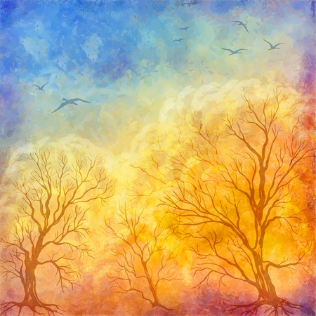 dramatic sky: art autumn landscape as oil painting. Grunge picture showing trees, brush strokes dramatic sky, flying migratory birds