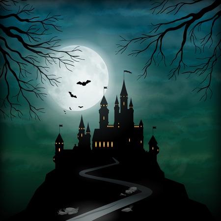 luz de luna: Fantasía vector silueta del castillo en la colina contra el cielo claro de luna con nubes suaves textura Vectores