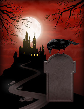 Halloween Party Invitation with castle silhouette on the hill against moonlight sky, Raven, gravestone Stock Illustratie