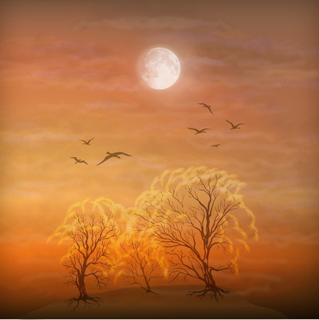 Vector art autumn landscape as watercolor painting. Grunge picture showing trees, brush strokes dramatic moonlight sky, flying migratory birds Vector
