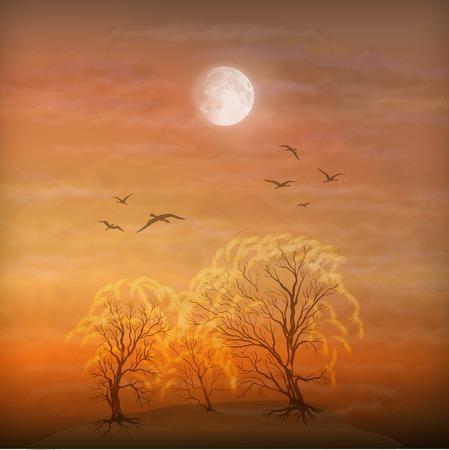 Vector kunst herfst landschap als aquarel schilderij. Grunge foto toont bomen, penseelstreken dramatische maanlicht hemel, vliegen trekvogels Vector Illustratie