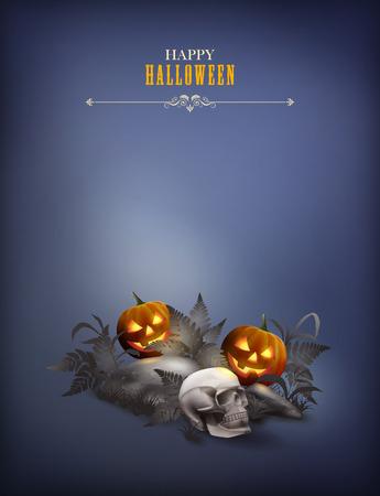 grass background: Halloween vector night scene with skull, pumpkin, stones and fern Illustration