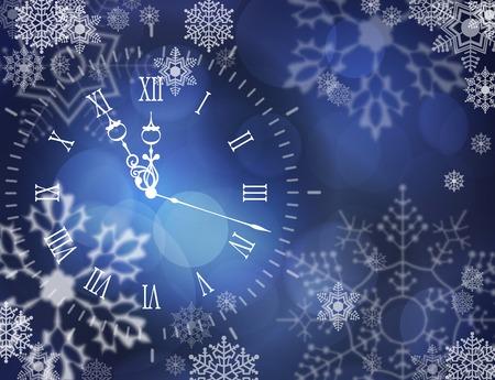 Christmas vector clock over abstract snowy dark blue background Vector