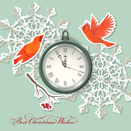 Vintage scrapbook elements Christmas background with clock, birds, origami snowflake,  Vector