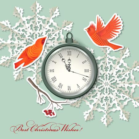 rowan tree: Vintage scrapbook elements Christmas background with clock, birds, origami snowflake,