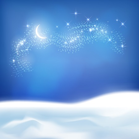 snowdrifts: abstract night background with snowdrifts, night sky, moon on the dark blue backdrop Illustration