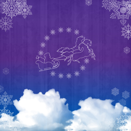 Background with Santa sleigh, night sky, clouds on subtle grunge paper texture Vector