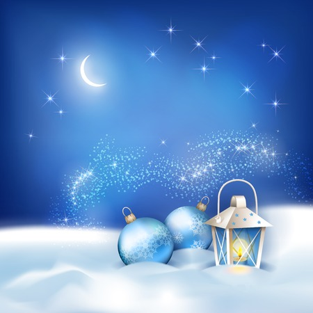 Vector abstract night background with snowdrifts, night sky, moon, lantern, baubles on the dark blue backdrop. Falling snow winter season landscape Vector