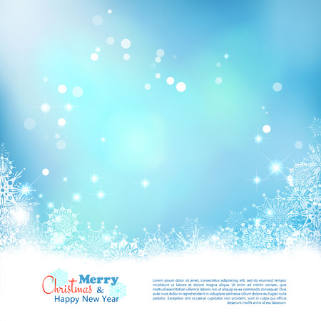 winter decorations: Abstract Christmas bokeh background. Xmas winter art design with snowflakes frame Illustration
