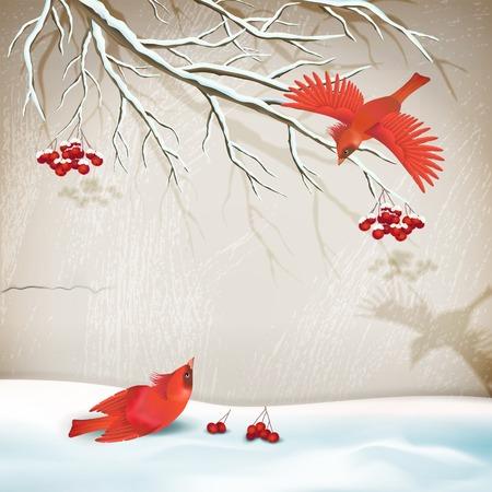 snowdrifts: Vector paesaggio invernale stile vintage con gli uccelli, ramo di un albero, cumuli di neve, parete intonaco decorativo