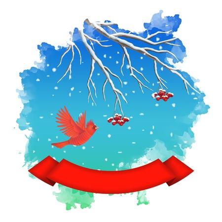 winter landscape with flying bird, Rowan branch, snow, ribbon banner inside watercolor vector splash Vector