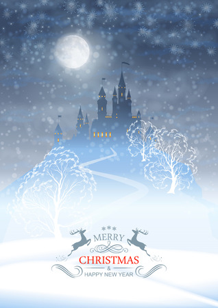 Christmas winter vector castle silhouette on the hill against moonlight sky with soft clouds texture