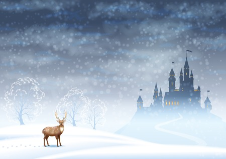 Christmas winter vector landscape with castle silhouette and deer Stock Illustratie