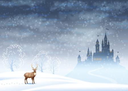 neige qui tombe: Noël vecteur de paysage d'hiver avec la silhouette du château et les cerfs