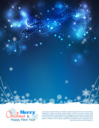 Vector abstract winter night background with moon, stars, night time sky, snowflakes, lights, text, bokeh effects, grunge elements Vector