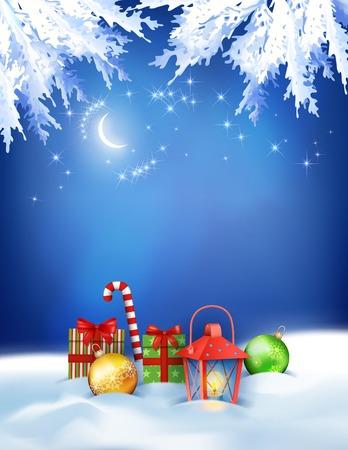 snowdrifts: Sfondo di notte di Natale vettoriale con cumuli di neve, regali, cielo notturno, la luna, lanterna, palline su sfondo blu scuro Vettoriali