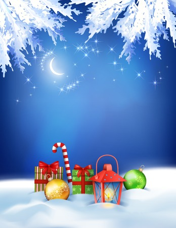 snowdrifts: Vector Christmas night background with snowdrifts, gifts, night sky, moon, lantern, baubles on the dark blue backdrop