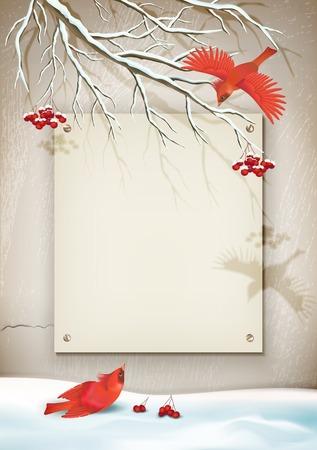 mur platre: Vecteur paysage d'hiver de style vintage avec des oiseaux, une branche d'arbre, cong�res, mur de pl�tre d�coratif