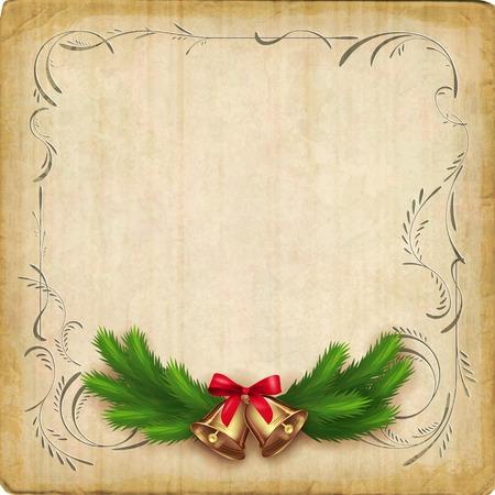 Vintage vector card with Christmas tree garland, bells, bow, decorative border frame Çizim