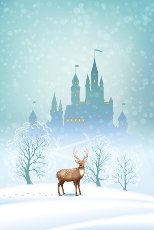 castle: Christmas winter vector landscape with fairytale castle silhouette and deer
