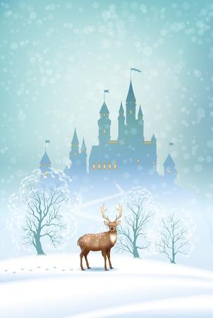 castello fiabesco: Natale vettoriale paesaggio invernale con il castello da favola silhouette e cervi Vettoriali