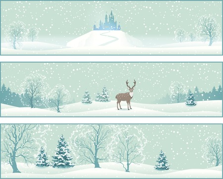 snow covered: Winter Christmas Landscape Vector Banners with snow covered hills, deer, old castle