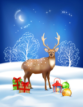 snowdrifts: Vector Christmas night background with deer, snowdrifts, gifts, night sky, moon, lantern, baubles on the dark blue background