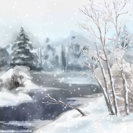 Digital vector artistic painting, winter watercolor landscape with snow, river, frozen trees Vectores
