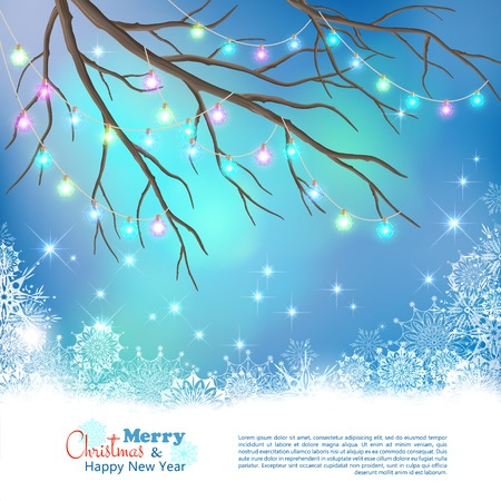christmas bulbs: Christmas Light Bulbs on Xmas Vector Night Background. Tree branches, glowing decorative garland, snowflakes, colorful bokeh on abstract holiday backdrop Illustration